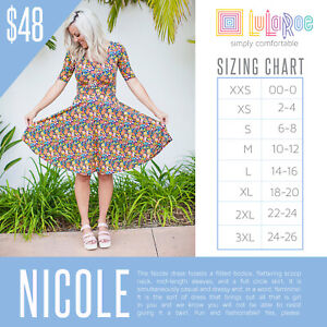 NEW-LuLaRoe-Mystery-Nicole-Dress-2XS-XS-Small-Medium-Large-XL-2XL-3XL-Retail-48