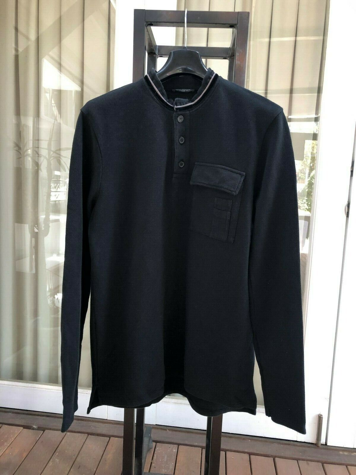 91ff57f126c4 100% Authentic BALMAIN Cotton Men Long Sleeve Henley T-shirt - Size Small
