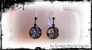 Dream-Pearls-Design-Ohrringe-Perlmutt-schwarz-filigran-Flower-silber-OH072