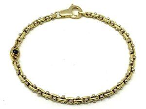 Italian-14k-Two-Tone-Gold-Fancy-Link-Bracelet-with-Blue-Sapphire-7-034-9-1-grams