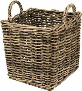 Buff-Kubo-Grey-Rattan-Small-Storage-Log-Kindling-Home-Storage-Basket-Square