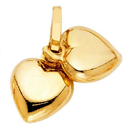 14K Yellow Gold Double Heart Pendant GJPT447