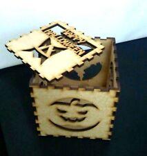 Halloween 3mm Mdf wood Lamp night Shadow Box Light Cube 90mmx90mm Wooden Craft