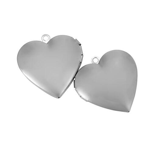 2PCs Stainless Steel Heart Open DIY Photos 2.2mm Holes Pendant 29x29mm GW