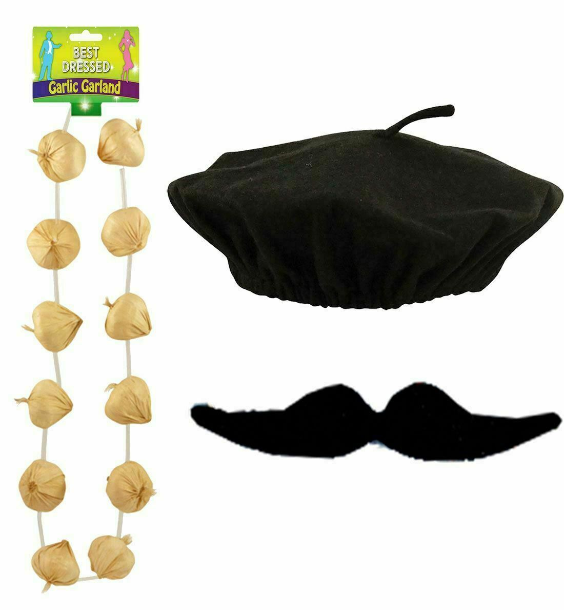 Adults Unisex Garlic Garland Neck Black Moustache and Beret Hat Party Accessory