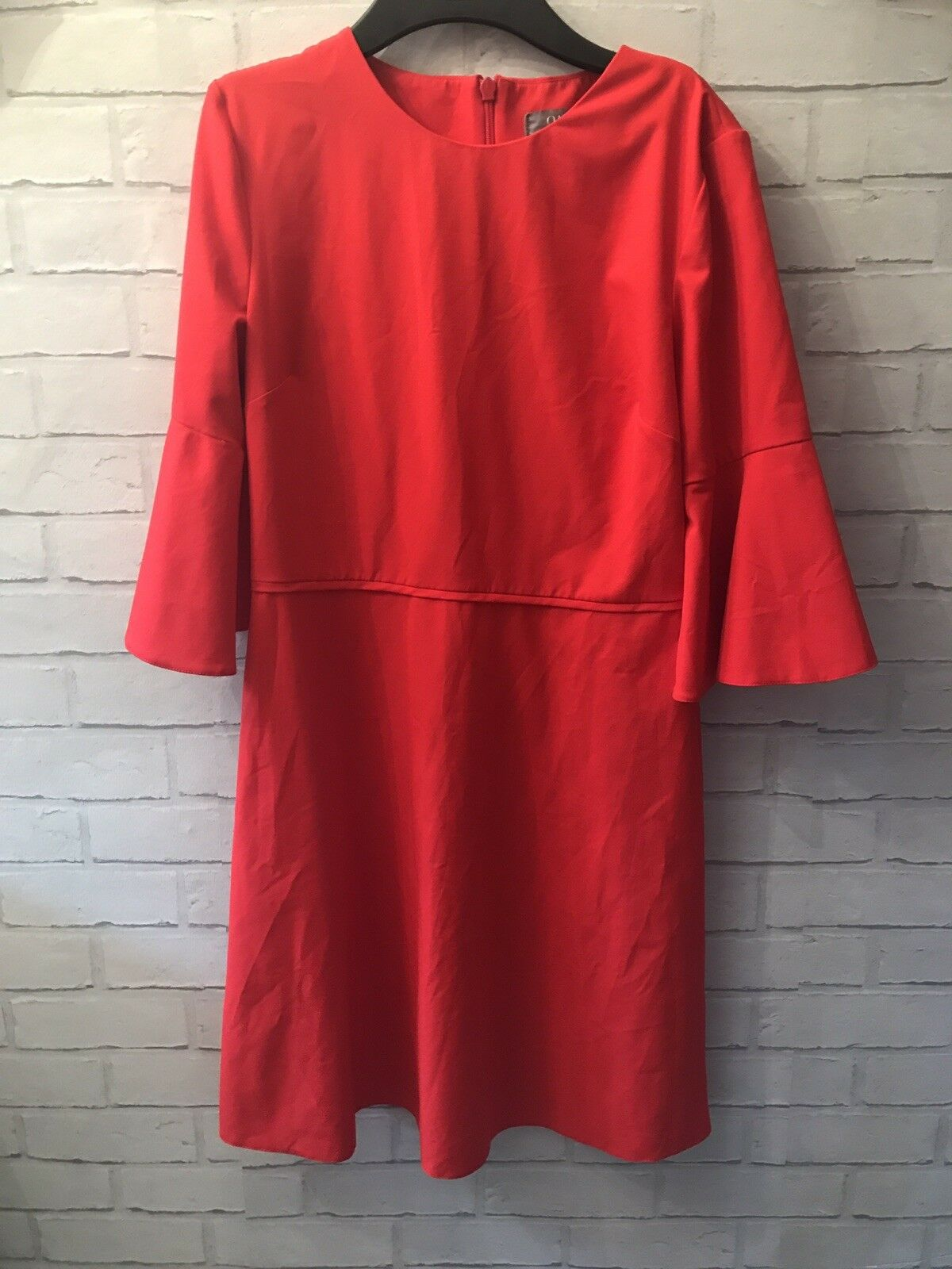 Oasis UK Size 12 Red Flute Sleeve Plain Dress