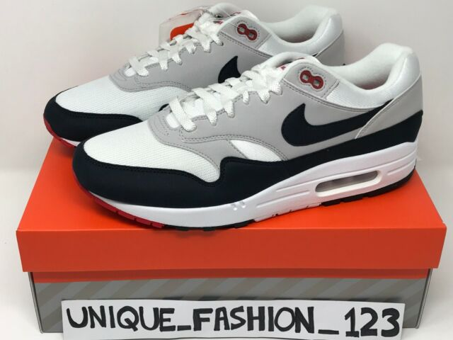 NIKE AIR MAX 1 OBSIDIAN PARIS OG 30TH ANNIVERSARY UK 6 7 8 9 10 11 WHITE 2017
