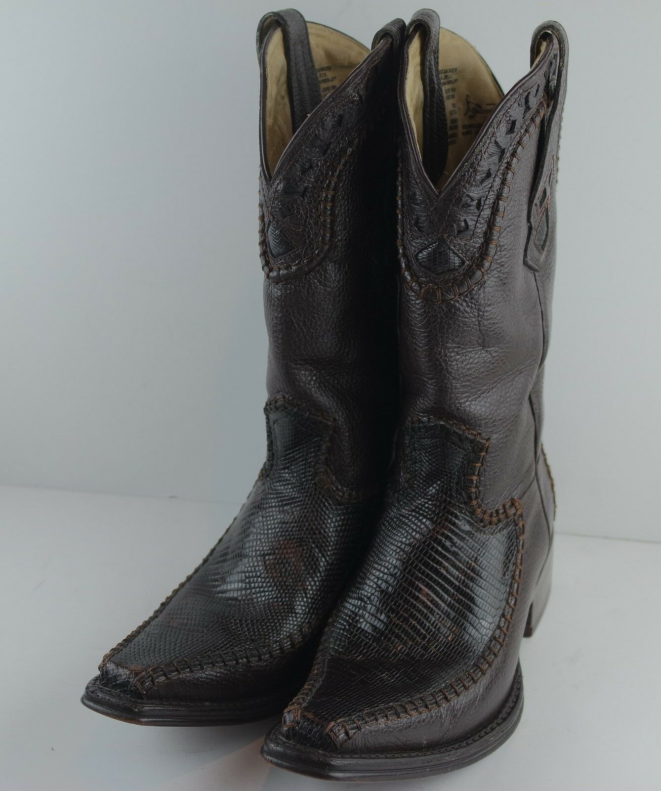 Classic Western  BOOTS AFRICAN  Mens Brown Spanish Toe Lizard Leather Size 7.5
