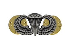 US Army Parachutist Badge basic silver oxidized pin-on for ASU uniform
