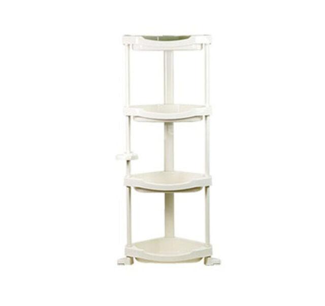 4 Tier Layers Storage Shelf PVC Bathroom Kitchen Corner Stand ...