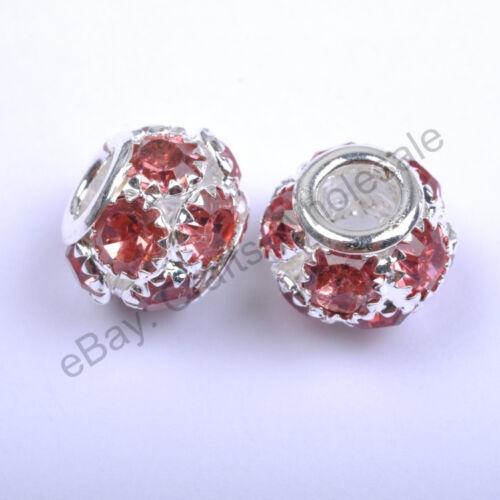 Qualité Tchèque Cristal Strass Européen Grand Trou Charms Beads Fit Bracelet