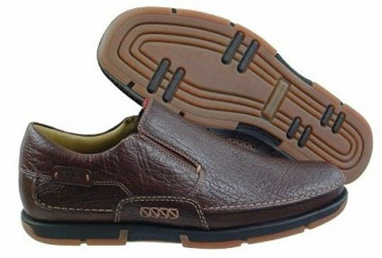 New I TRAVEL Uomo Brn Pelle Flat Slip On Casual Comfort Dress Loafers Sz 13 D
