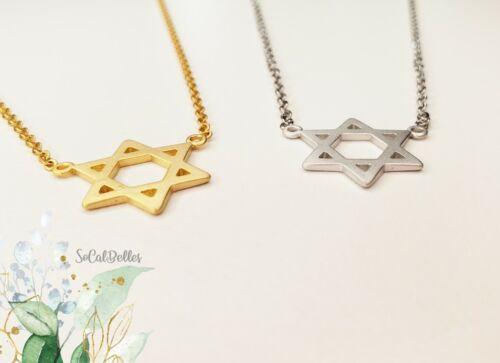 Details about  /Star of David Pendant Simple Minimal Pendant Charm Necklace