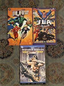 JLA-Year-One-Strength-In-Numbers-TPB-Lot-amp-Wonder-Woman-Eyes-Of-Gorgon