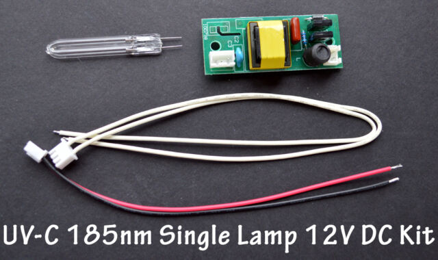 UV-C 185nm Ozone Generator U-shape 50mm x 8 x 50mm  Single Lamp Bulb 12V DC Kit