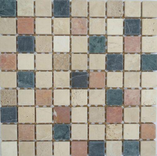 Colour Mix Stone Border Kitchen Mosaic Tile Sheet Bathroom Cream Tan Blue Beige