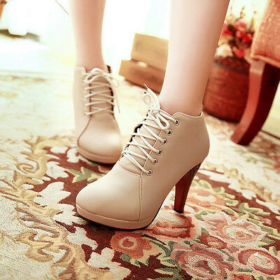 womens boots shoes Stiletto High Heels Ankle Sexy Boots Ladies Lace Up Round Toe