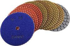 "5"" Wet Diamond Polishing Pads Set of 7 + Black Buff for Granite Countertop/Floor"