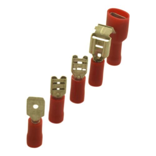 0,5mm Nenngröße 4,8mm Dicke 1mm² Flachsteckhülsen vollisoliert Rot Breite