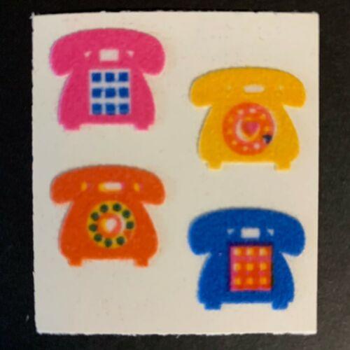 Sandylion Vintage Fuzzy Stickers Telephone Cars Jester Hats Rainbow Stars smiley