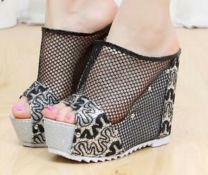 Womens-Open-Toe-Platform-Wedge-Heel-Rivet-Slingbacks-Mesh-Summer-Sandals-Shoes
