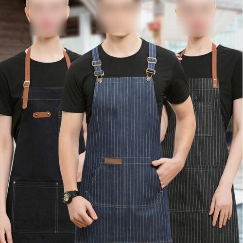 Denim Bracelet en cuir Bib Tablier Barista Baker barman barbecue Chef Unisexe Uniforme