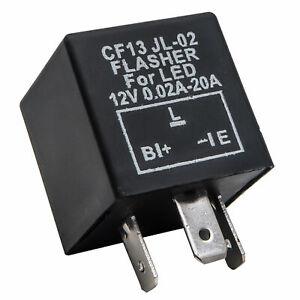 12V-CF13-NERO-Veicolo-Auto-3-Pin-LED-Svolta-Luce-Lampeggiante-Rele-INTERMITTENZA