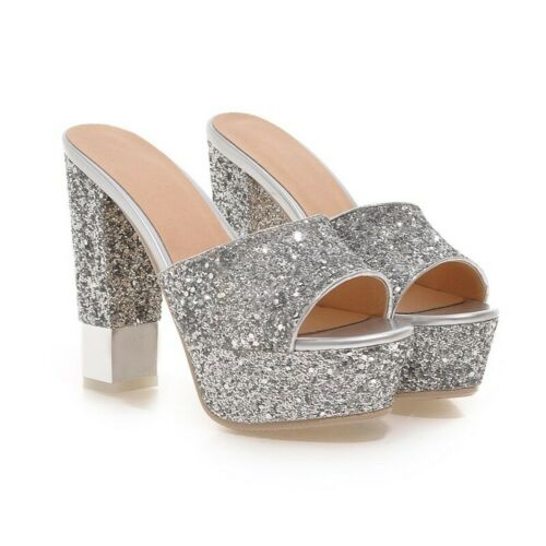Details about  /Women/'s High Block Heel Sandals Shoes Mules Open Toe Slip On Bling Size 34-43