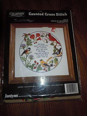 Vintage Charmin Janlynn Counted Cross Stitch Kit 54-18 Circle Songbirds 1985 New
