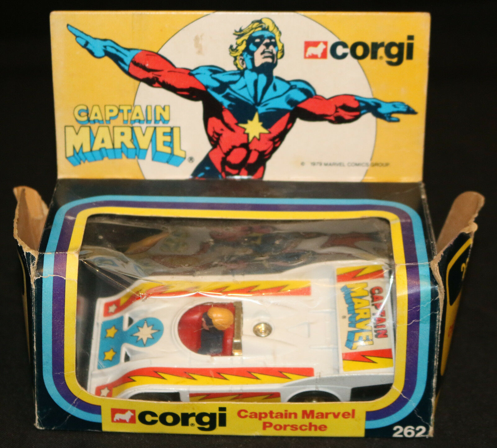 Le Capitaine Marvel Porsche par Corgi Toys  262 (Box  Très Bon Vélo  Comme neuf) 1979