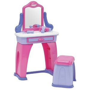 vanity set for girls.  Vanity Set For Girls With Mirror And Bench Kids Plastic Drawer