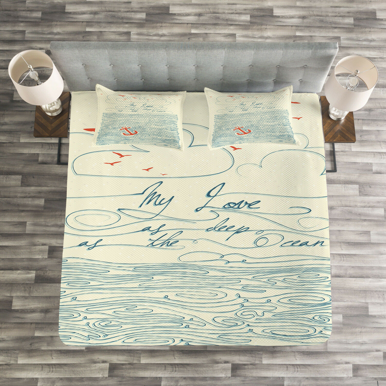 Quote Quilted Bedspread & Pillow Shams Set, Birds and Waves Message Print