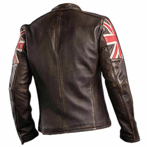 Jacket Brown Cafe Vintage Men's New Racer Leather Fashion Flag Classic Uk Biker ZAxSwqC