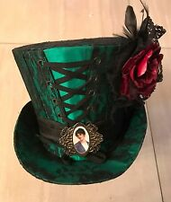 Steampunk Green Black Lace Top hat With Picture Frame And Rose Size 59