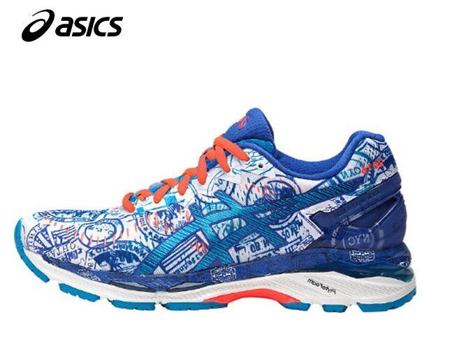 Asics Women Gel Kayano23 NYC White Blue Running Shoes,Sneakers T6A7N-0141