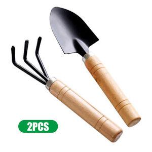 2 Pieces Garden Vegetable Flower Wood Hand Tools Spade Rake Gardening Toolset