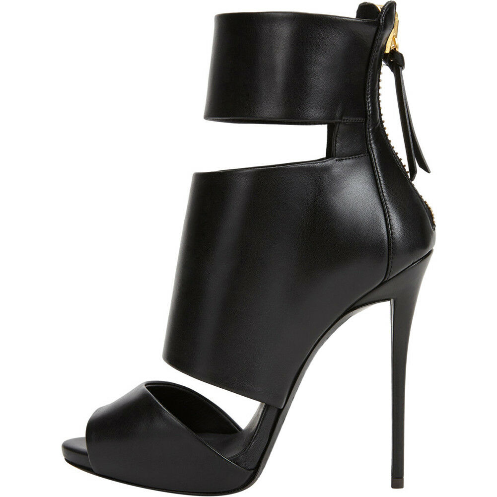 Women Ladies Peep Toe Autumn Spring High Heel Opening Ankle Boots Back Zipper