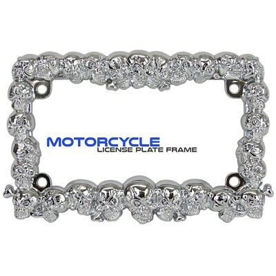 CHROME LICENSE PLATE FRAME FOR MOTORCYCLE SKULL STYLE