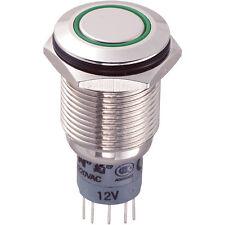 Switch Vandal Resistant DPDT 16mm IP67 Momentary Green LED Flush Brass