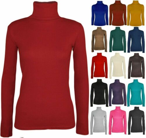 LADIES LONG SLEEVE POLO NECK ROLL NECK TOP WOMENS TURTLE NECK PLAIN TOP  8-26