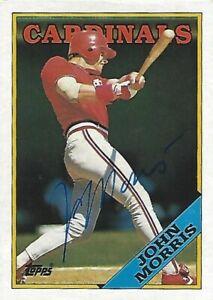 Autographed-Signed-1988-Topps-536-John-Morris-St-Louis-Cardinals-Tough-Signer