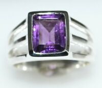 Genuine Amethyst Sterling SILVER Ring Purple Gemstone 925, Size N, 6½ to Z+5, 15