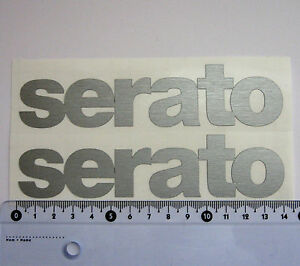 2 x SERATO DVS logo decal transfer sticker - BRUSHED CHROME effect 140mm