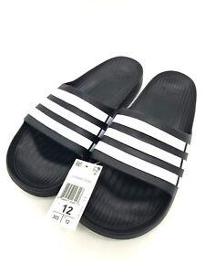best service 6e8c3 c8440 Image is loading adidas-Duramo-Slide-Sandal-Black-White-Black-Size-