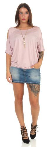 Shirt Top Tunika Longshirt Bluse Hemd Longtop Cut Out Kette 36-40