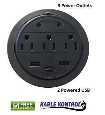 3 Power // 2 Powered USB PowerTap Grommet Desktop Power Data Center