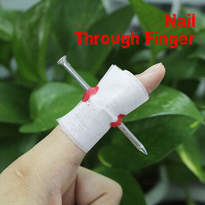 New Funny Party Halloween Prank Gag Gift Bloody Nail Thru Through Finger Trick