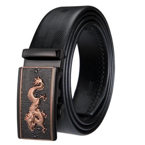 Dragon Luxury Mens Belt Genuine Leather Automatic Buckle Waist Strip 110-160 CM