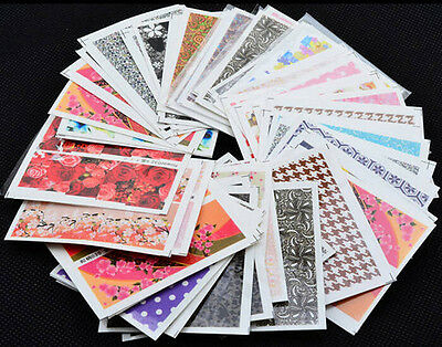 50pcs Flower Design Water Transfer Decals DIY Nail Art Tips Stickers Decoration