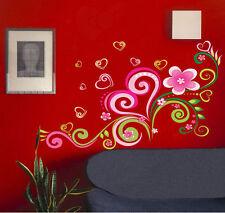 Corazón Amor Flor Vino Pared Adhesivoadhesivo Extraíble Pegatina Vinilo